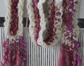 XMAS IN JULY up to 50%off Sale Hand Crocheted Pink and White Scarf,  with beads, ribbons Hand spun yarn, part of  holiday collection