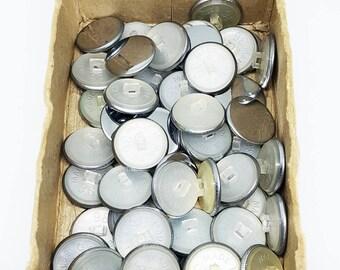 50 x 2cm Silver colour Metal Vintage Round Buttons 1960-1980s
