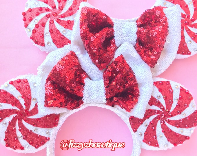 Peppermint Candy Cane Sequin Minnie ears