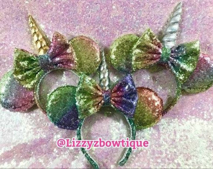 Unicorn Horn Rainbow Sequin Minnie ears