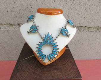 Squash Blossom Necklace Faux Silver and Turquoise Necklace Southwestern Jewelry Tribal Indian Turquoise Necklace