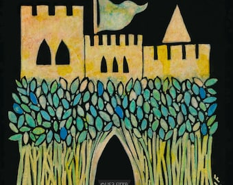 Blue Barley Castle, fine giclée reproduction of original painting by Lisa Firke