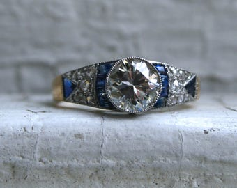 Stunning Late Art Deco 14K Yellow Gold Diamond and Sapphire Ring - 1.25ct.