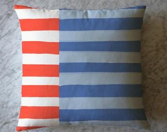 Stripe Pillow - Orange White and Blue