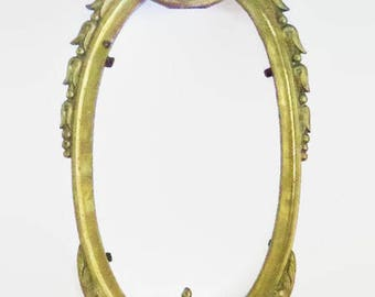 Large Solid Brass Frame, Antique Oval Cast Brass, Ornate Art Nouveau Wall Frame