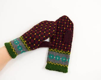 Knitted Mittens - Red, Black and Green, Size Medium