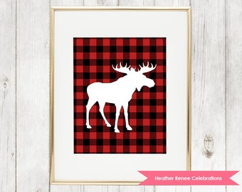 Woodland Nursery Moose Printable | Lumberjack Wall Art | Red Buffalo Plaid Print Instant Download