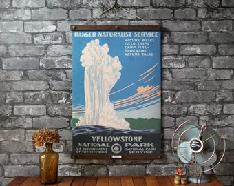 WPA Yellowstone National Park / Vintage Pull Down Reproduction / Canvas Fabric or Paper Print / Oak Wood Hangers with Brass Hardware