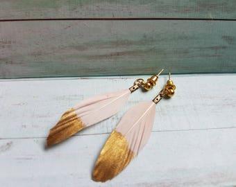 Gold Dipped Blush Pink Feather Earrings, Bohemian Earrings, Boho Style Jewellery, Festival Fashion, Festival Earrings, Blush Pink Earrings