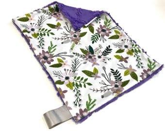 Purple Floral Baby Girl MINKY Lovey Blanket, MINI Minky Baby Blanket, Taggie Blanket, Baby Bedding, Baby Lovey Blanket, Floral Lovey Blanket