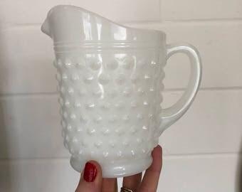 Hobknob milkglass pitcher