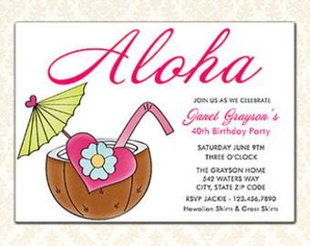 Aloha Luau Party Invitations, Hawaiian Birthday Printable Flat Invitations, Tropical, Coconut Drink, Summer Party, Your Words, Digital