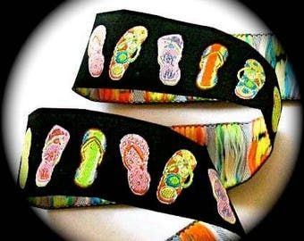 "Woven Jacquard Ribbon Flip Flops 7/8"" X 5 YDS  Black Multi Colored Flip Flops -"
