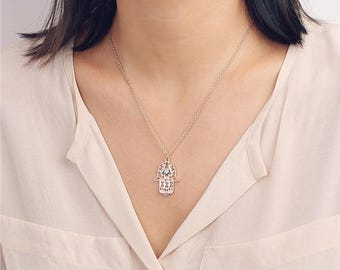 ON SALE Hamsa necklace with turquoise bead