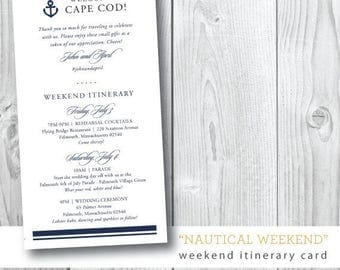 Nautical Printed Wedding Weekend Itinerary | Program | Itinerary | Printed and Design by Darby Cards