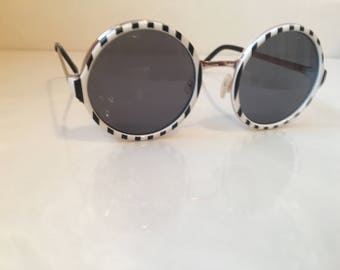 Sunglasses, black and white sunglasses, metal frame sunglasses, vintage glasses,  vintage sunglasses
