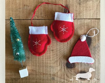 Snow Mittens. Christmas Ornaments (Set of 3) -- (Holiday, Tree Ornament, Snowflake, Red, Santa Hat, Simple, Cute, Classic, Christmastime)