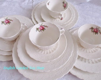 Vintage dinnerware by Spodes Jewel Copeland Spode Billingsley Rose 16 pc. set, 4 lunch, 4 salad plates,  4 cups saucers, excellent condition