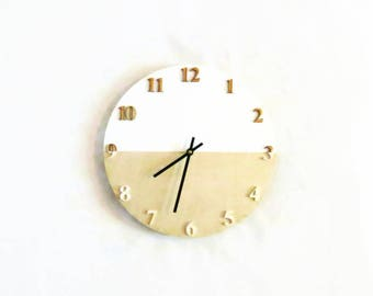Modern Wall Clock, White and Wood Decor, Home and Living, Home Decor, Clocks