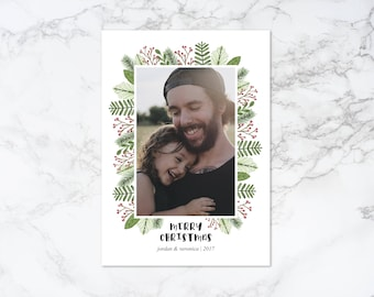 Printable Watercolor Elements Rustic Frame Holiday/Christmas Photo Card