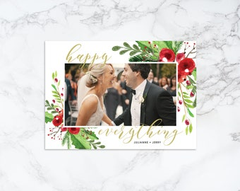 Printable Happy Everything Watercolor Elements Rustic Holiday/Christmas Frame Photo Card