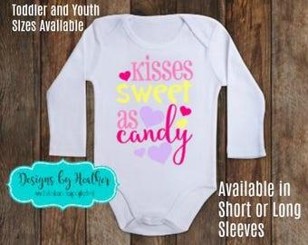 Valentine's Day Bodysuit - 1st Valentine's Day Shirt - Baby's First Valentine - Valentine's Bodysuit - Valentine Kisses Bodysuit