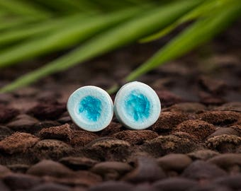Porcelain stud earrings with glass and sterling silver (925)