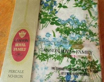 NOS/NIP Cannon Royal Standard Pillowcase Set Blue & Green Floral / Flowers