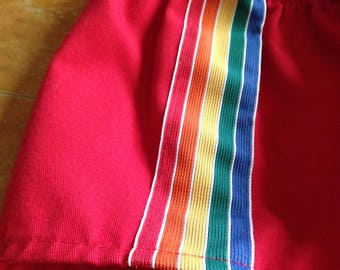 vintage red with rainbow trim short shorts by runner up 3-4-5 years