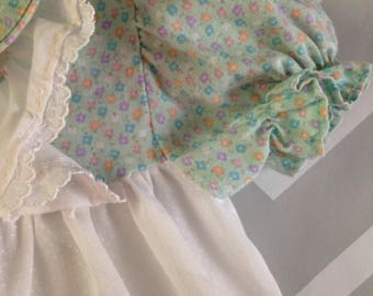 vintage floral polka dot dress / blouse / top for baby by jcpenney toddletime size 0-3-6 months