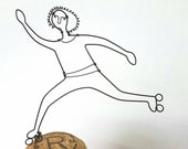 Wire sculpture on champagne cork, wire art, wire rollerskater, alternative wedding gift, gift for sister, wire person, wire home decoration,