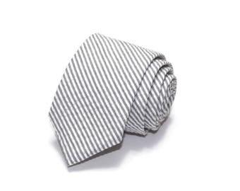 Gray Stripe Seersucker Necktie~Cotton Necktie~Anniversary Gift~Wedding Tie~Mens Gift~Cotton Tie~Mens Tie~Gray Tie