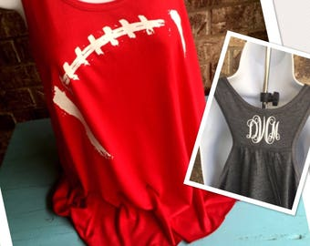 Football mom tank with monogram, football Laces Flowy Tank- football girlfriend, football mom shirt