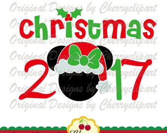 Christmas 2017 Minnie SVG DXF Christmas Silhouette & Cricut Cut Files CHSVG48 -Personal and Commercial Use