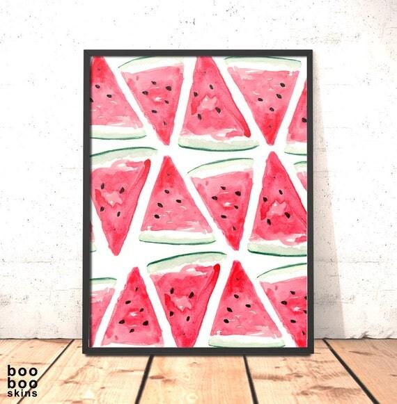 Watermelon Wall Art Kitchen Decor Watercolour Watermelon