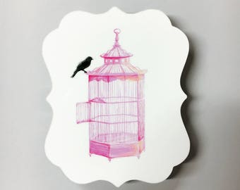 PRETTY smart BIRD-An Illustration of a Black Bird Perched Upon a Pink Birdcage Infused onto a Damask-Shaped High Gloss Metal Plate