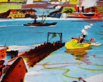 Little Toot / 1939 Copyright / Tugboat Book / 1960s - 1970s Lithograph Book / Hardie Gramatky / Weekly Reader Children's Book Club