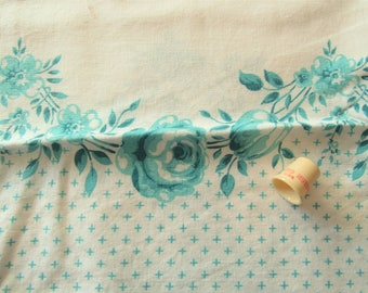 vintage FULL feed sack fabric -- turquoise border floral print
