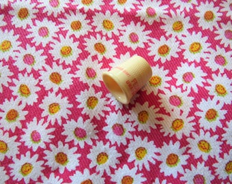 bright pink and yellow floral print vintage cotton fabric -- 50 inches by 1 yard plus