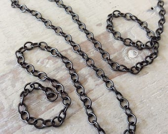 6ft Oxidized Copper Chain, 6mm x 7mm Oval Link, Patina Antiqued Solid Copper Cable Chain