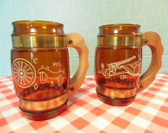 Vintage Western Siesta Ware Mugs - Brown Glass - Set Of 2 - Wagon Wheel - Gun With Holster
