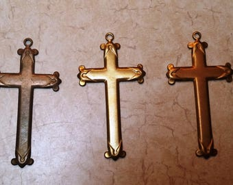 Three Shades of Antiqued Brass Crosses with Special Detail