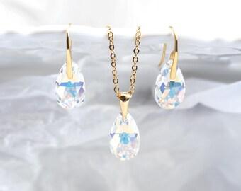 Bridesmaid jewelry set Bridesmaid gift set Gold jewelry set Gift bridesmaids Gold SWAROVSKI crystal set Bridesmaid jewelry gift 864