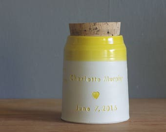 Child/ Infant Cremation urn, pet urn or human ashes urn. custom funerary urn. White porcelain with yellow glaze with quote shown