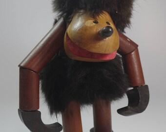 Vintage 1960 Teak and Fur Monkey Kay Bojesen Era Danish Modern