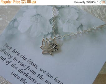 Christmas in July SALE Silver Lotus Necklace, Yoga Jewelry, Sterling Silver Lotus Flower Necklace, Spiritual Jewelry, Gifts for Best Friends