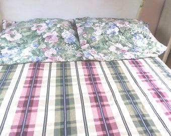 "Duvet 9 pc King size reversible Custom Made Duvet cover 2 Euro Pillow shams, 2 Valances, 2 Drape panels w 2 tie backs 104"" x 96"""