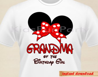 Disney Grandma of the Birthday Girl Minnie Earsl - INSTANT DOWNLOAD - Birthday Girl - Minnie Mouse the First Party Favors