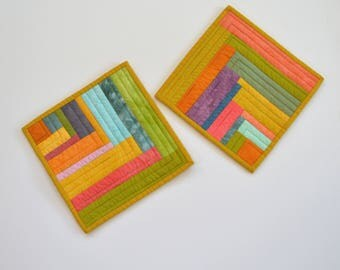 Quilted Pot Holders, Stripe Pot Holders, Modern Pot Holders, Hostess Gift, Quilted Hot Pads