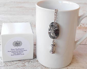 Tea Infuser, Lighthouse, Lead Free, Gift Boxed, Mosaic Stone, Spiritual Strength, Guidance, Gift for Him, Boyfriend Gift